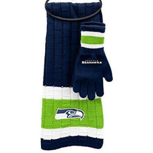 SEATTLE SEAHAWKS KNIT SCARF AND GLOVES SET NEW